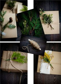 All my gifts this year will be wrapped like this! rustic gift wrap & too cute peanut ornaments!