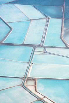 Photographs of the Blue Salt Fields in Australia