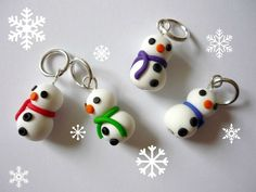 Snowman stitch markers set of 4 polymer clay by AbsoKnittingLutely, £8.00