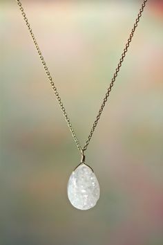 Druzy necklace - drusy necklace - a classy white teardrop druzy hanging from a 14k gold filled chain on Etsy, $35.80 CAD