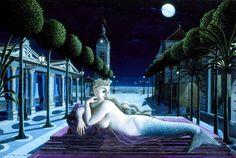 Paul Delvaux - A Siren in Full Moonlight