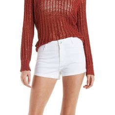 Charlotte Russe White Refuge High-Waisted Denim Shorts by Charlotte... ($23) ❤ liked on Polyvore featuring shorts, white, charlotte russe, short shorts, high rise denim shorts, short jean shorts and white jean shorts