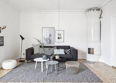 Zweeds appartement: Grijs, Zwart & Wit