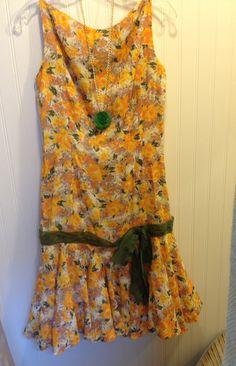 Vintage 1960s floral dress  drop waist  gauzy by 86CharlotteStreet, $68.00