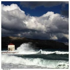Stunning photo of Leros island on a windy day ~ Greece (photo by Marianna Ioannidou) Greece Islands, Windy Day, Good Times, Travel Destinations, Art Photography, Beautiful Places, Waves, Clouds, World