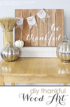 DIY Be Thankful Wood Sign on iheartnaptime.com