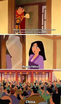 Grandma in Mulan II is better than Grandma in Mulan really. <--- Obviously, I need to rewatch Mulan II. Humour Disney, Funny Disney Jokes, Disney Memes, Disney Quotes, Funny Memes, Hilarious, Disney Princess Memes, Disney Facts, Disney Cartoons