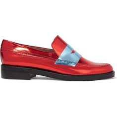 MR by Man Repeller The Alternative to Bare Feet metallic leather... ($335) ❤ liked on Polyvore featuring shoes, loafers, red, red shoes, leather loafers, loafer shoes, low heel shoes and red slip on shoes