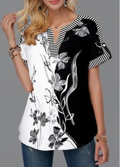 Split Neck Roll Tab Sleeve Flower Print Blouse   modlily.com - USD $28.35 Charlie Brown Costume, Full Figure Fashion, Trendy Tops, Matching Outfits, Printed Blouse, Latest Fashion For Women, Beautiful Outfits, Marie, Tunic Tops