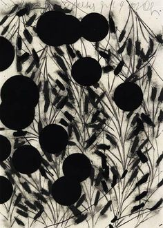 Donald Sultan. Oranges on Branches, 2002, 50.2x70 cm, Charcoal with flocking triptych on 3 sheets of cream wove paper