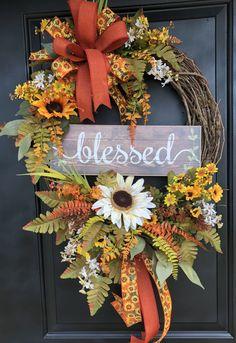 Fall Wreath – Sunflower Wreath – Pumpkin Wreath – Grapevine Fall Wreath – Sassy Doors … – My Sassy Doors Designs – Wreaths Autumn Wreaths For Front Door, Christmas Mesh Wreaths, Thanksgiving Wreaths, Thanksgiving Decorations, Holiday Wreaths, Door Wreaths, Winter Wreaths, Burlap Wreaths, Spring Wreaths