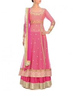 Neon Pink Lehenga Set with Sequins & Faux Pearls