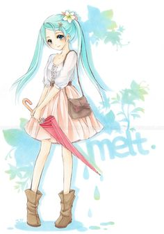 Hatsune Miku: Melt  Hatsune Miku (初音ミク)    Okay, love everything about this picture. (◎_◎;)