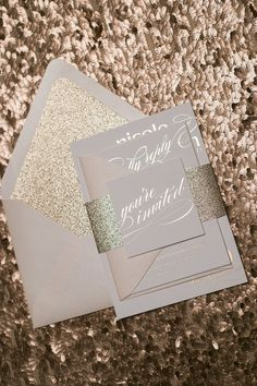 Foil  - Rose Gold Glitter Wedding Invitations - SAMPLE (Cynthia)
