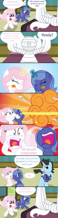 Celestia and Luna agreed to never speak about the innocent pony that they blew up. So I've been wanting to make this comic for awhile now (I mean I thou. My Little Pony Comic, My Little Pony Pictures, Princess Luna, Princess Celestia, Mlp Memes, Celestia And Luna, Healing Spells, Mlp Comics, Mlp Fan Art