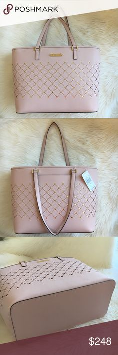 """b6dc0a78b2e0 Michael Kors tote Size large Violet leather carry all tote in """"Blossom """"  with gold"""