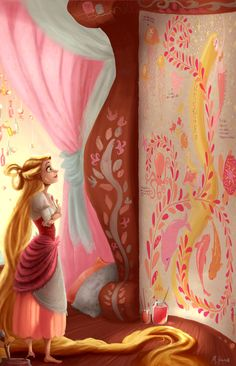Rapunzel from disney's tangled - artwork by matthew howorth princesas Rapunzel Disney, Walt Disney, Deco Disney, Disney Nerd, Disney Fan Art, Disney Magic, Disney Movies, Disney Princesses, Disney Stuff