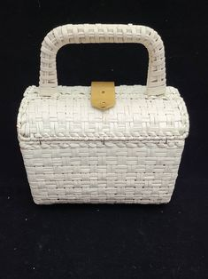 Vintage Rodo Italy white woven straw purse with double handles and goldtone hardware