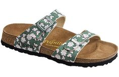 Papillio Sydney Lotus Flower Green Birko-Flor Two thinner, contoured straps make this style very comfortable for those with prominent foot bones. Creative patterns and materials set the Papillio Sydney apart. #birkenstock #birkenstockexpress.com  $55