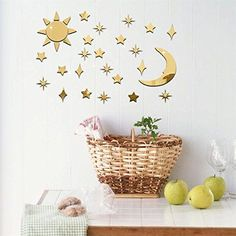$18.99  - AddLife Sun Moon and Stars Wall Sticker Mirror Threedimensional Wallpaper DIY Home Removable Wall Decals Living Room Bedroom Kids Room Mural Art Decoration >>> Want additional info? Click on the image. (This is an affiliate link) #WallStickersMurals