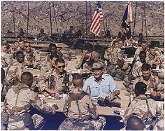 President George Bush celebrates Thanksgiving with the troops in Saudi Arabia during Desert Storm. November -From the Bush Library Presidents Wives, American Presidents, American History, Operation Desert Shield, Once A Marine, Bush Family, Presidential History, My War