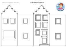 huisje om te knutselen 2, thema post en pakket kleuteridee Butterfly Outline, Paper Houses, Reggio Emilia, Diy For Kids, Kids Playing, Coloring Pages, Gallery Wall, School, Frame