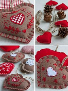 Love the brown and red felt hearts.  Perfect for Valentine's day craft.
