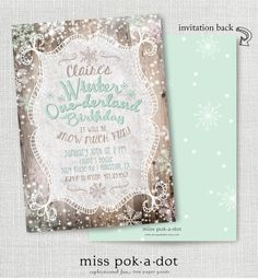 Rustic winter onederland first birthday invitation  by misspokadot
