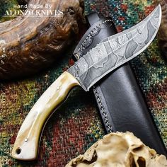 ALONZO KNIVES USA CUSTOM HANDMADE DAMASCUS SURVIVAL HUNTING KNIFE CAMEL BONE 967 #AlonzoKnives