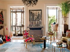 Bungalow 1a: The Look for Less: How to decorate an Eclectic Apartment. Love the Punk influence.