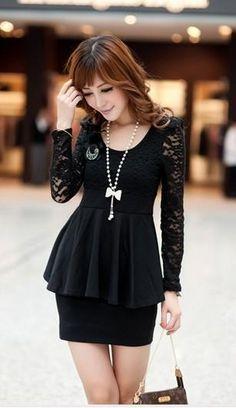 Black Elegant Korean Fashion Dress with Fashionable Peplum and Lace - $27.46