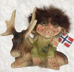 norwegian troll w/ moose friend and flag