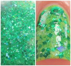 The Mindful Heart is made with assorted green glitters (holographic, matte, satin) in a clear base. All nails are 2 coats over 2 coats of Color Mates Tokyo Magic.