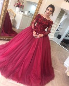 long sleeves prom dress,ball gowns prom dress,burgundy wedding dress,lace appliques prom gowns