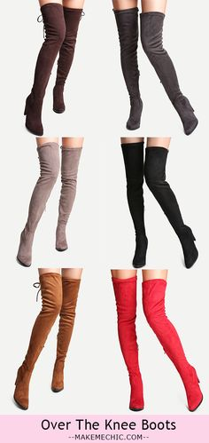 Faux Suede Tie Back Over The Knee Boots