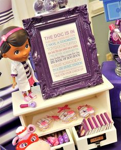 Pink & Purple Doc McStuffins Party with fun doctor themed activities, cute doctor costumes, medical themed cupcakes and a Doc McStuffins birthday cake!