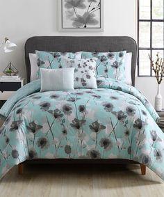 Look at this #zulilyfind! Aqua Poppy Floral Five-Piece Comforter Set #zulilyfinds