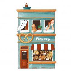 Cute cartoon illustration of bakery shop premium vector Building Illustration, House Illustration, Graphic Design Illustration, Watercolor Illustration, Watercolor Art, Graphic Art, Cute House, Building Art, House Drawing