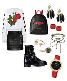 """Ruby rose"" by xgina-marie on Polyvore featuring Off-White, Gucci, Valentino, Love Moschino, Accessorize, EF Collection, Kate Spade, Pomellato and Fendi"