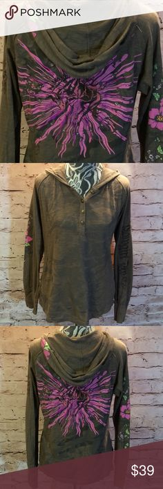 SZ XL COWGIRL UP HOODED HENLEY TOP Nice Henley with a bold appliqué on the back. Cowgirl up embroidered down one arm and a floral print on the other. Metal buttons. Gently used Cowgirl Up Tops Sweatshirts & Hoodies