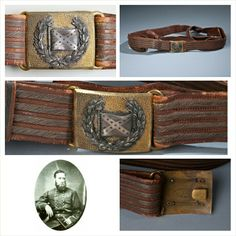 Rarest Confederate Belt Buckle This silver and gold Confederate bucklecrafted by the  firm of Webb and Bonella of  London, England Measuring 51 x 44 millimeters, this brass/gilt and silver buckle is one of six in existence. With a pebbled gold background,, the 13-star Battle flag, is cradled by a silver laurel wreath  with smoothed, beveled edges.  the buckle is attached to a four-banded gold bullion red Morocco sword belt. Complete with, a sword hanger's and attachment rings