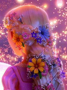 Rapunzel's hairstyle when she sees the floating lanterns. The flowers are so pretty!