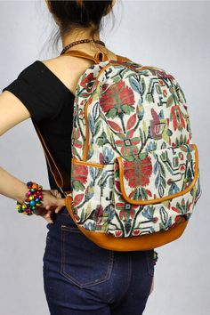 Floral Abstract tribal native design backpack School Bag/ Ethnic rucksack/ holiday bag / Hippie /Boho ethnic gypsy woven tapestry hobo bag