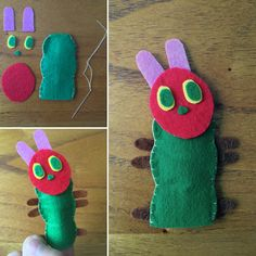 Sew & Glue ~ The Very Hungry Caterpillar felt finger puppet. A fun way to role play and retell the story with children!