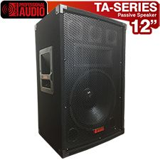 """Awesome speaker for Karaoke or the Mobile Disk Jockey. The TA-120 has a 12"""" woofer with a high tempered voice coil, a horn and 3 bullet tweeters. Power rating 750 watts. This speaker has a professional carpet finish, steel corners and heavy duty handles. Inputs are dual 1/4"""" and binding post."""