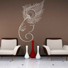 70 Trendy wall decored above couch ideas canvases Wall Sticker Design, Custom Wall Decals, Wall Design, Wall Stickers Home Decor, Wall Painting Decor, Diy Wall Art, Ganapati Decoration, Pooja Rooms, Indian Home Decor