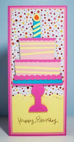 """Business size envelope birthday card using Cricut cartridge """"Sweet Treats""""  and Pink by Design's """"Birthday, Birthday.""""  Original design by Faith Abigail Designs."""