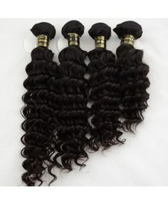 "4pcs/lot  Virgin Brazilian Hair Deep Wave #1B Natural Black  10""-32"""
