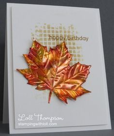 Fall Maple by Loll Thompson - Cards and Paper Crafts at SplitcoaststampersStamps: a little sentimental (clearly besotted) Paper: white Paper Size: A2 Ink: antique linen, brushed corduroy; alcohol inks for copper leaf: honeycomb, poppyfield, botanical (ranger) Accessories: copper sheet, large leaves #2 die (cheery lynn), textured mesh stencil (memory box), felt pads with applicator   Read more: http://www.splitcoaststampers.com/gallery/photo/2567720#ixzz3GEIFPxel