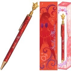 Official Sailor Mars pen! http://www.moonkitty.net/reviews-buy-sailor-moon-stationary-books-bags.php #SailorMoon